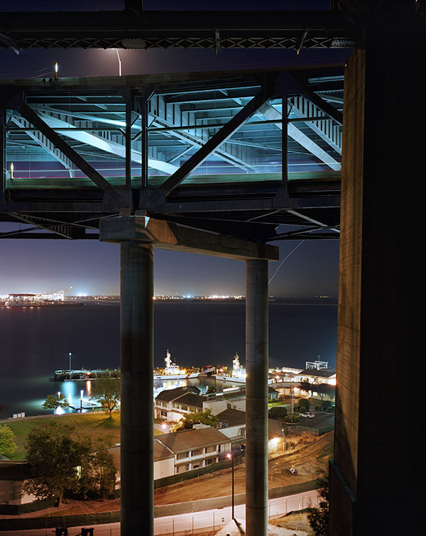 p36 A night view of the temporay bypass and Coast Guard station, with Alameda beyond, September 18, 2009 900px